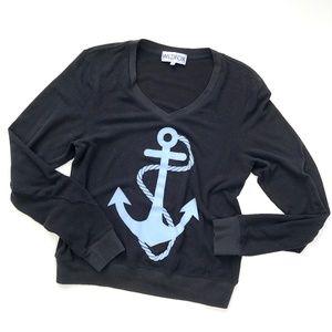 Wildfox   Black V Neck Sweater Blue Anchor